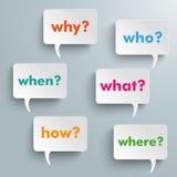 Burbujas del discurso de la pregunta Imagenes de archivo