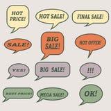 Burbujas del discurso de la venta Sistema de iconos del ejemplo Fotografía de archivo libre de regalías