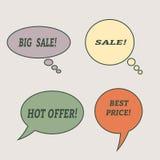 Burbujas del discurso de la venta Sistema de iconos del ejemplo Imagen de archivo