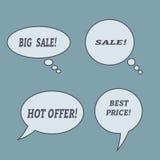 Burbujas del discurso de la venta Sistema de iconos del ejemplo Imagen de archivo libre de regalías
