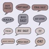 Burbujas del discurso de la venta Sistema de iconos del ejemplo Fotos de archivo libres de regalías