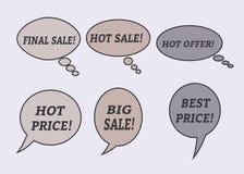 Burbujas del discurso de la venta Sistema de iconos del ejemplo Foto de archivo