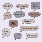 Burbujas del discurso de la venta Sistema de iconos del ejemplo Fotos de archivo