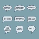 Burbujas del discurso de la venta Sistema de iconos del ejemplo Imagenes de archivo