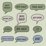 Burbujas del discurso de la venta Sistema de iconos del ejemplo Fotografía de archivo
