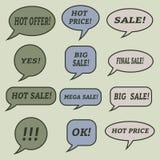 Burbujas del discurso de la venta Sistema de iconos del ejemplo Imágenes de archivo libres de regalías