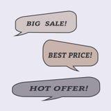 Burbujas del discurso de la venta Sistema de iconos del ejemplo Foto de archivo libre de regalías