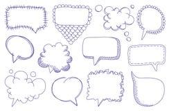 Burbujas del discurso del bosquejo del Doodle Imagen de archivo libre de regalías