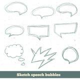 Burbujas del discurso del bosquejo del vector fijadas EPS10 Foto de archivo