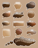 Burbujas del discurso del chocolate Fotografía de archivo