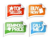 Burbujas del discurso del vendedor para los mercados en línea. Foto de archivo libre de regalías