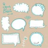Burbujas del discurso fijadas Burbujas retras del discurso en el fondo sucio Ilustración del vector Fotografía de archivo libre de regalías