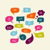 Burbujas del discurso fijadas con los mensajes stock de ilustración