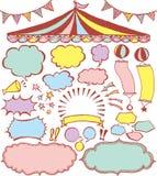 Burbujas del discurso y ornamentos del mercado Imagen de archivo libre de regalías