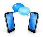 Burbujas del discurso y teléfonos móviles Imagen de archivo libre de regalías
