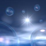 Burbujas del espacio - nubes y estrella de noche ilustración del vector