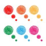 Burbujas drenadas mano colorida del pensamiento stock de ilustración