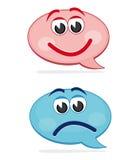 Burbujas felices y tristes del discurso Imágenes de archivo libres de regalías
