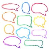 Burbujas a mano, coloridas del discurso Foto de archivo libre de regalías