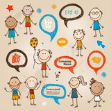 Burbujas a mano del discurso de los niños fijadas Imagenes de archivo