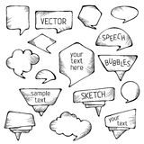 Burbujas a mano del discurso del lápiz stock de ilustración
