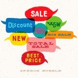 Burbujas multicoloras interactivas del discurso de la venta Fotos de archivo