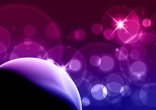Burbujas púrpuras - fondo de la tarjeta de visita con el copyspace para usted Foto de archivo libre de regalías