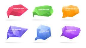 Burbujas poligonales abstractas del discurso fijadas figuras 3d con el lugar para el texto Ejemplos coloridos del vector Imagenes de archivo