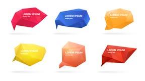 Burbujas poligonales abstractas del discurso fijadas figuras 3d con el lugar para el texto Ejemplos coloridos del vector Foto de archivo