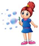 Burbujas que soplan de la niña stock de ilustración