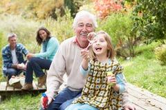 Burbujas que soplan del abuelo y de la nieta Imágenes de archivo libres de regalías