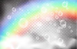 Burbujas realistas y humo blanco en el fondo de un arco iris y de un cielo azul con las nubes ilustración del vector