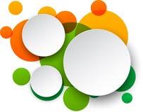 Burbujas redondas blancas de papel del discurso. Fotos de archivo