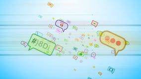 Burbujas sociales alegres que vuelan en ciberespacio Imagen de archivo