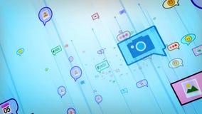 Burbujas sociales azules abstractas felices Foto de archivo