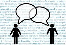 Burbujas sociales de la charla de la red de la parte del símbolo de la gente