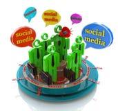 Burbujas sociales del discurso de la red del negocio medias Imágenes de archivo libres de regalías