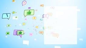 Burbujas sociales elegantes que vuelan en la pantalla Fotografía de archivo libre de regalías