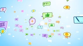 Burbujas sociales felices que giran en ciberespacio Foto de archivo