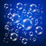 Burbujas transparentes sobre azul marino ilustración del vector