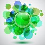 Burbujas y botón Imágenes de archivo libres de regalías