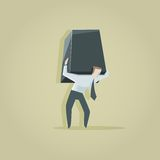 The burden of a businessman. Vector illustration of The burden of a businessman Royalty Free Stock Images