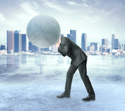 Burden concept. Man with concrete sphere instead of head on city background. Burden concept Stock Photo