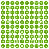 100 burden icons hexagon green. 100 burden icons set in green hexagon isolated vector illustration Royalty Free Stock Images