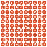100 burden icons hexagon orange Royalty Free Stock Image