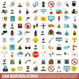 100 burden icons set, flat style. 100 burden icons set in flat style for any design vector illustration stock illustration