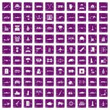 100 burden icons set grunge purple. 100 burden icons set in grunge style purple color isolated on white background vector illustration stock illustration