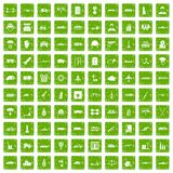 100 burden icons set grunge green. 100 burden icons set in grunge style green color isolated on white background vector illustration Stock Photography