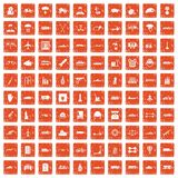100 burden icons set grunge orange. 100 burden icons set in grunge style orange color isolated on white background vector illustration Stock Image