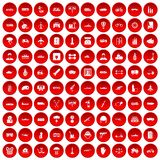 100 burden icons set red. 100 burden icons set in red circle isolated on white vectr illustration stock illustration